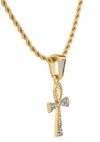 Goldtone Iced Out Ankh Cross Mini Sandblast Pendant with a 24 Inch Rope Necklace