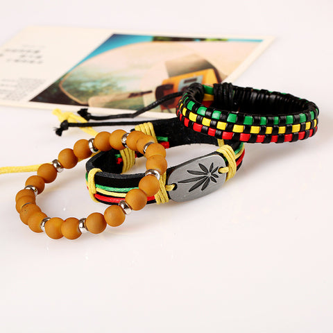 3pcs/set Handmade Leather RBG Bracelet Weave Brown Beads Bracelet for Women and Men