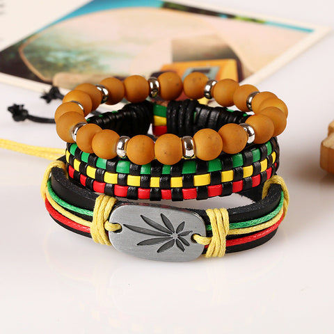 FREE 3pcs/set Handmade Leather RBG Bracelet Weave Brown Beads Bracelet for Women and Men