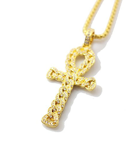 18k Gold Egyptian Ankh Key of Life Cross Charm Pendant Necklace