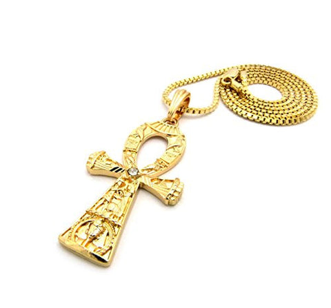 "Egyptian Engraving Ankh Pendant 2mm 24"" Box Chain Necklace in Gold-Tone"