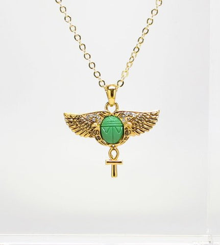 Egyptian Scarab Wings Ankh Necklace