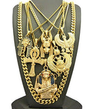 Egyptian Collection King Tut, Anubis, Ankh, Scarab, Horus Bird Pendant, Cuban Link Chain