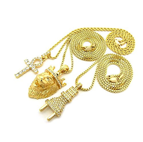 Iced Out Power Plug, Ankh Cross, King Crown Lion Head Pendant 3 Necklace Set in Gold Tone