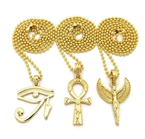 "Gold Tone Micro Ankh, Eye of Horus, Egyptian Angel Pendant 24"" Ball Chain 3 Necklace Set"