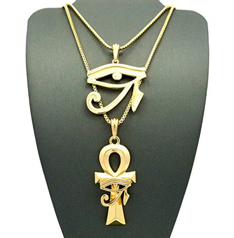 "NEW Eye of Horus & Horus Eye Ankh Pendant Set with 24"" 30"" Box Chain Necklaces - Gold-Tone"
