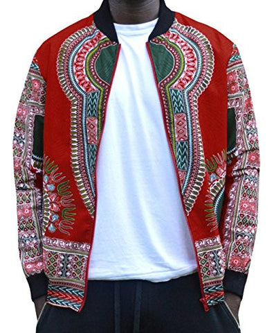 Makkrom Men's Long Sleeve Floral Dashiki Zippered Jacket