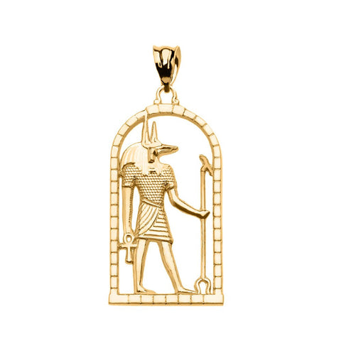 10k Yellow Gold Egyptian Anubis Pendant Necklace