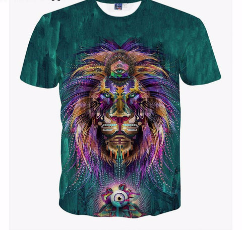 Trip Lion King Tiger Indiana Pattern All Over Print T-Shirt Short Sleeve Hipster Hip Hop Summer Sports Top Tee Men Women