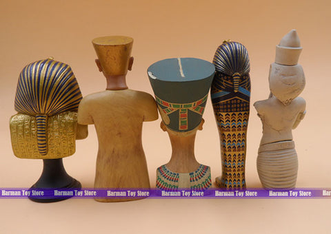 7.5cm 5pcs/lot original Wooden/Alloy Ancient Egypt Patron saint/Pharaoh/Tutankhamun action figure collectable figure set