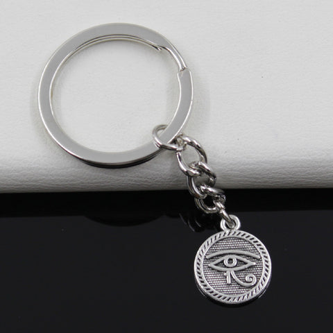 Free Keychain 15mm Eye of Horus Pendants DIY Men Jewelry Car Key Chain Ring Holder Souvenir For Gift
