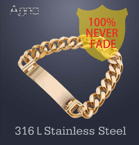 FREE AAA+Never Fade!!  Stainless Steel ID Bracelets Men