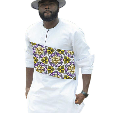 African clothes men print shirts private custom africa clothing white and prints long sleeve dashiki shirt
