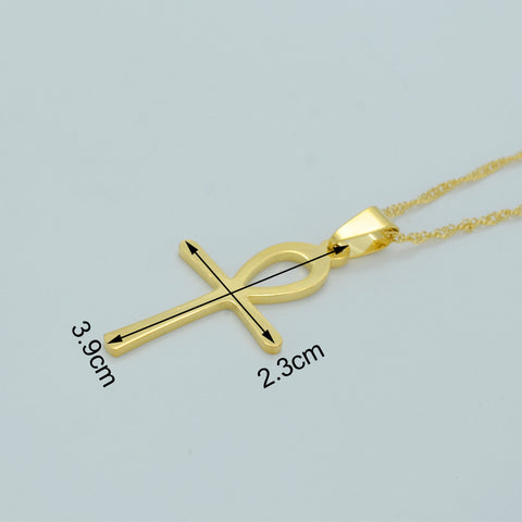 Egyptian Ankh Necklace for Women Gold Color