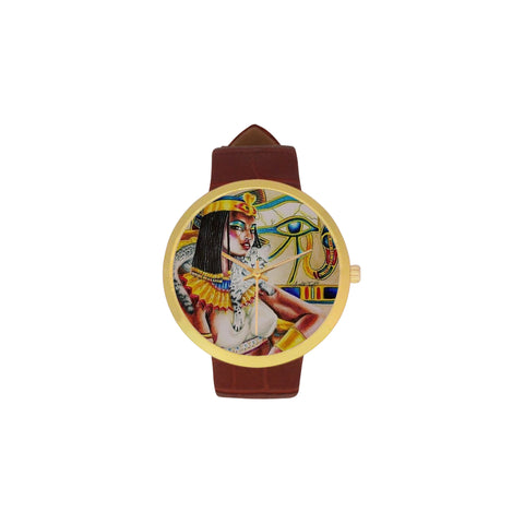 Women's Golden Leather Strap Watch