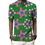 Customized men african prints shirt male dashiki shirts stand collar short sleeve tops