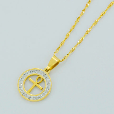FREE Egyptian Ankh Cross Necklace for Woman,18k Gold Plated Ankh Pendant
