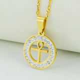 Egyptian Ankh Cross Necklace for Woman,18k Gold Plated Ankh Pendant