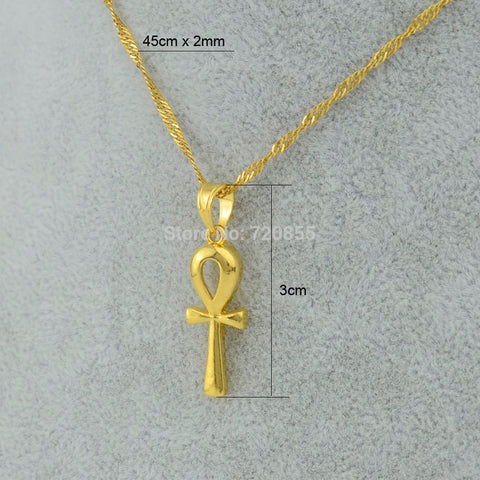 Free Egyptian Ankh Cross Pendant Necklace Chain ,22k Gold Plated