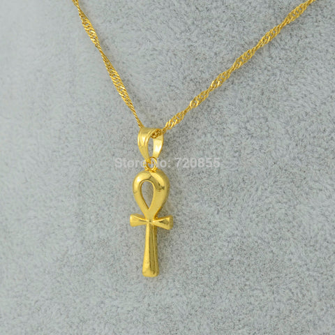 Egyptian Ankh Cross Pendant Necklace Chain ,22k Gold Plated