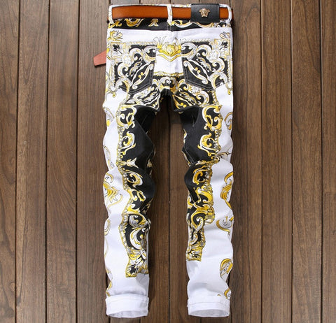 Men's pants Straight luxury brand casual trousers Painted yellow print