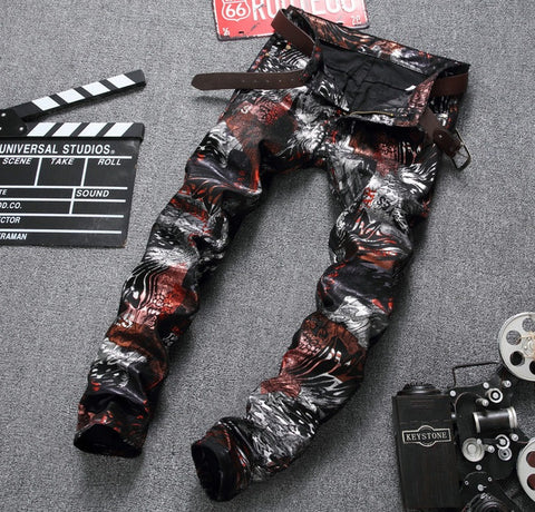 Men's pants Straight luxury brand zipper fashion pu trousers zipper slim red Printed pants for men