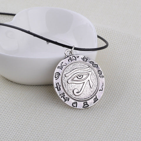 Eye of Horus Egyptian Sun God Symbol Pendant Necklace Rune Eye Necklaces Punk Style Jewelry for Women and Men