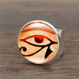 Eye of Horus Vintage Ring Art Glass Dome  Horus Eye Rings for Women