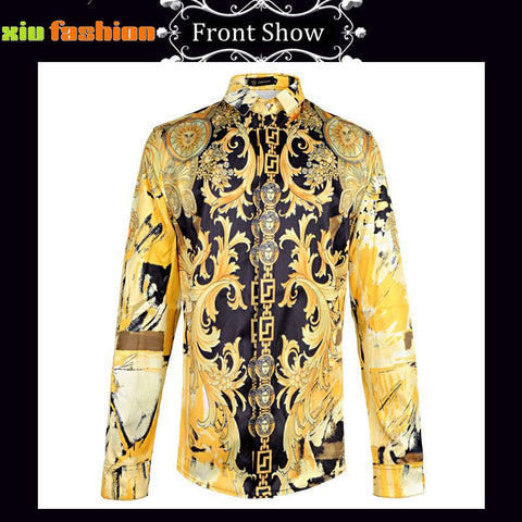 Retro Baroque Royal Mens Gold Printed 3D Shirts Male Long Sleeve Slim Fit Men Clothes