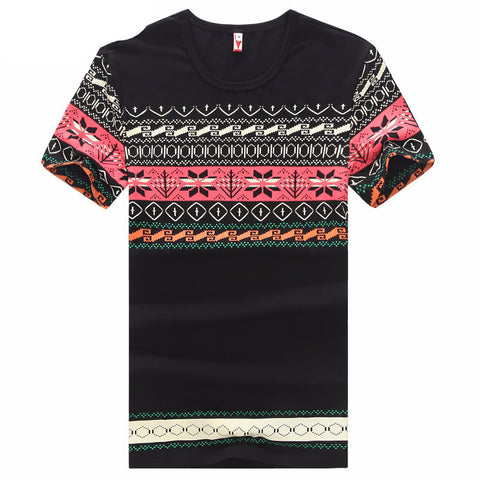 Men's Short Sleeve T-Shirts Retro Style Prints Slim Fit Brand Cotton T Shirt Tees Top Quality