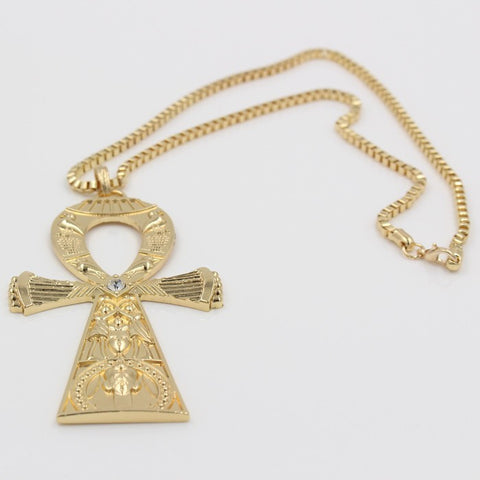 Egyptian Engraving Ankh Cross Pendant Chain Necklace 18k Gold Plated