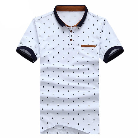 New Men POLO Shirt Fashion Skull Print  Camisa Polo Summer Cotton