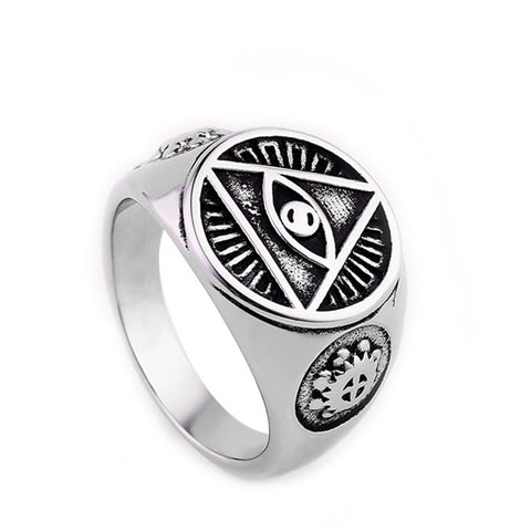 FREE Illuminati pyramid eye symbol 316L Stainless steel Signet Ring