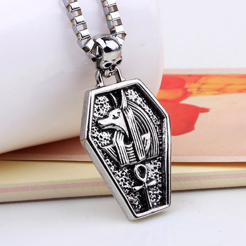 Mens gun black Anubis Necklaces Egypt jewellery patron saint Pendant necklace Collars Mujer Accessories Jewelry LKQNN75021