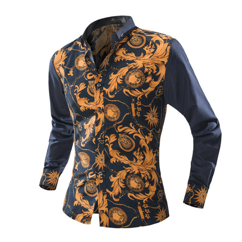 New Brand Dress Men Shirt Long Sleeve Cotton Male Business Casual Printed Fashion Formal Shirts Slim