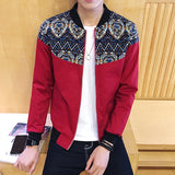 New Designs Floral Patchwork Men's Jacket Baseball Collar Slim Fit Male Coats Red Khaki Black Jackets For Men 5XL