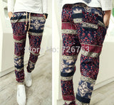 New Men's Vintage Exotic Patterned Boho Stretch Waist Slim Fit Casual Holiday Linen Harem Pants