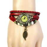 FREE Natural Paradise Bracelet Vintage Weave Wrap Quartz Leather Leaf Beads