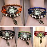 Natural Paradise Bracelet Vintage Weave Wrap Quartz Leather Leaf Beads