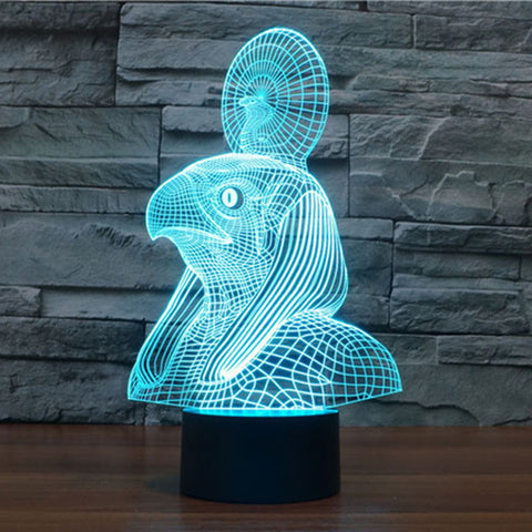 Pharaoh Escort 3D USB Touch Button Led Night Light 7colors Change Nightlight Mood Children