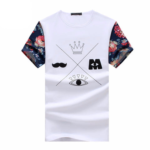 Plus Size 5XL Men T shirt Fashion Printing Sleeves T-shirts Summer Cotton Short-sleeve