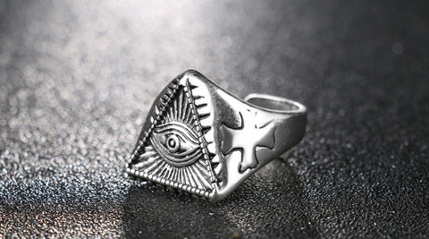 FREE Eye Ring Cool Vintage Silver Opening Adjustable Ghost Eyes Rings Egyptian Pyramid