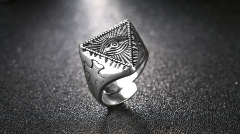 Evil Eye Ring Cool Mens Vintage Silver Opening Adjustable Ghost Eyes Rings Egyptian Pyramid