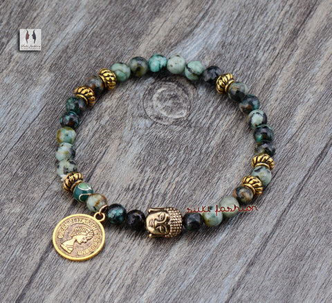 African Turquoise With Buddha and Charms Beads Bracelet Vintage Gem Stones Elastic