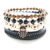 Rose Gold Plated Crystal Pave Hand Charm Bracelets Skull Stones Genuine Leather Handmade Bangles DIY Beads Jewelry 1 set 4 pcs - Free + Shipping