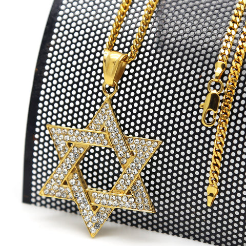Star of David necklace pendant High Quality Fashion Hiphop 18k Gold