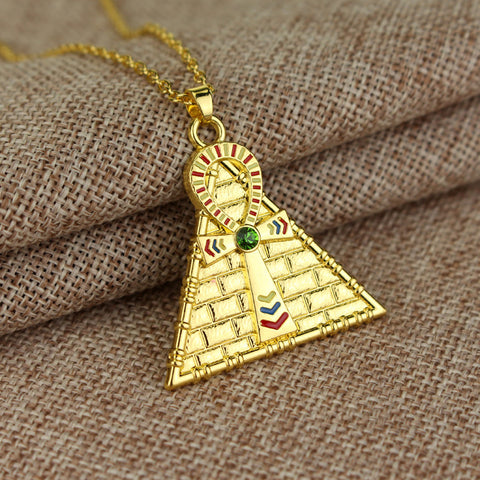 The Eye of Horus Ankh & Pyramid Gold necklaces & Pendants for men