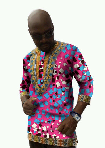 Traditional Africa Clothing Men shirt Three Quarter Sleeve Length Men Style