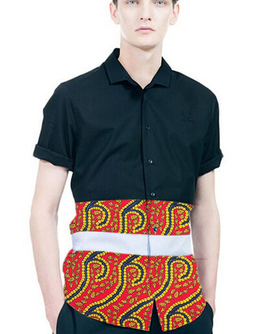 Trendy print and patchwork dashiki shirt african men tops short sleeve