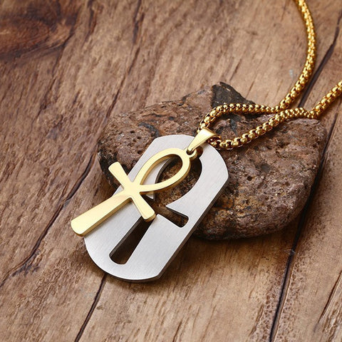 FREE Removable  Ankh Necklace Pendant Surgical Steel Life Cross Egyptian Men Jewelry Gold Plated The Key of the Nile